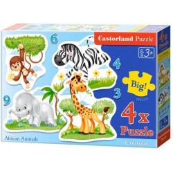 "Castorland ""African Animals Puzzle 4 Puzzle (3,4,6,9 κομμάτια)"