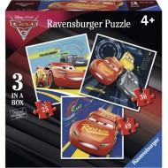 """ΠΑΖΛ 3 IN A BOX  """"CARS"""" Ravensburger"""