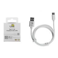 LIME TYPE C USB 2.4A ΦΟΡΤΙΣΗΣ-DATA 1m L01 WHITE