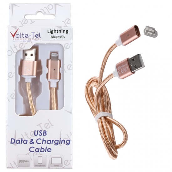 Volte-Tel LIGHTNING USB ΦΟΡΤΙΣΗΣ-DATA MAGNETIC BRAIDED 2.1A 1m GOLD VOLTE VCD07