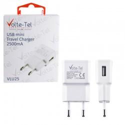 VOLTE-TEL USB TRAVEL CHARGER mini VLU25 2500mA WHITE