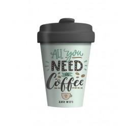 """ΠΟΤΗΡΙ BAMBOO """"ALL YOU NEED IS COFFEE"""" 400ML"""