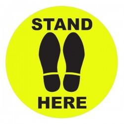 """ΑΥΤΟΚΟΛΛΗΤΟ ΔΑΠΕΔΟΥ """"STAND HERE"""" 30 ΕΚ. ΔΙΑΜΕΤΡΟΣ"""