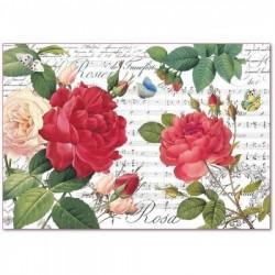 ΡΙΖΟΧΑΡΤΟ ΝΤΕΚΟΥΠΑΖ STAMPERIA 48Χ33CM RED ROSES AND MUSIC